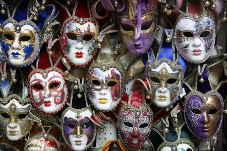 carnival masks: Beautiful carnival masks - Venice, Italy displayed on black.
