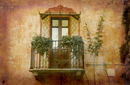 piedmont: Artistic work of my own in retro style - Postcard from Italy. - Tiny balcony - Piedmont. Stock Photo