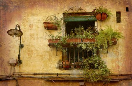 Artistic work of my own in retro style - Postcard from Italy. - Tiny oasis - Lucca, Tuscany. Stock Photo