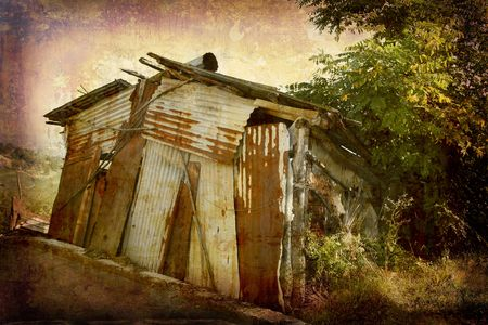 Postcard from Italy. - Old rural shed - Piedmont. Stock Photo - 1928881
