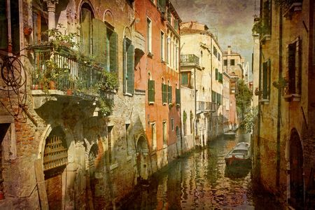 Artistic work of my own in retro style - Postcard from Italy. - Urban Venice.