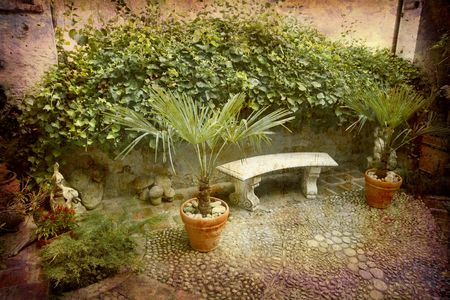 piedmont: Artistic work of my own in retro style - Postcard from Italy. - Patio - Piedmont.