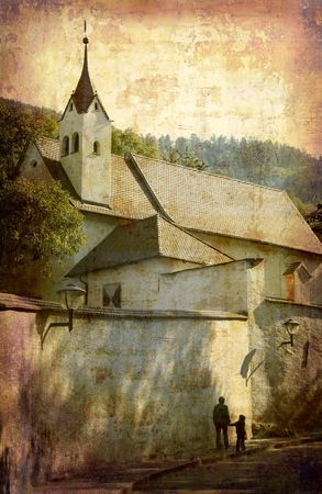 Artistic work of my own in retro style - Postcard from Italy. - Church - Chiuso. Stock Photo - 1943434