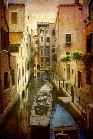 Artistic work of my own in retro style - Postcard from Italy. - Narrow canal - Venice.