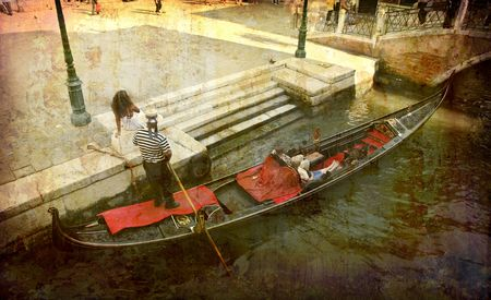 Artistic work of my own in retro style - Postcard from Italy. - Gondola - Venice. photo