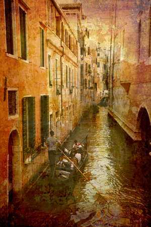 Artistic work of my own in retro style - Postcard from Italy. - Gondola in narrow canal - Venice. Stock Photo