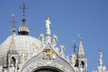 Top of St. Marks Cathedral - St. Marks Square - Venice  photo