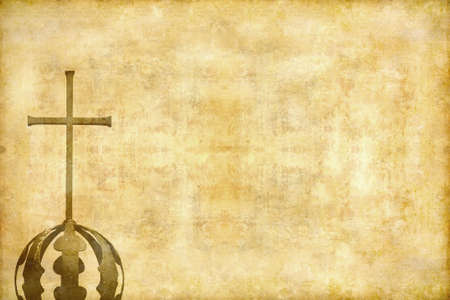 catholicism: Retro cross with copyspace for text on grunge background.