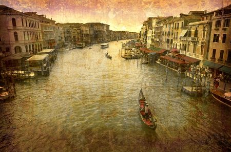 Artistic work of my own in retro style - Postcard from Italy. - Grand Canal - Venice. photo