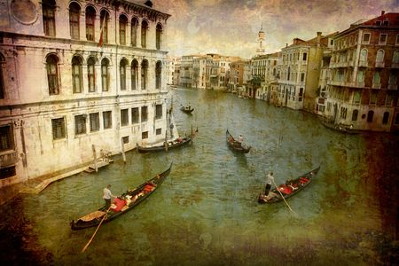 Artistic work of my own in retro style - Postcard from Italy. - Gondolas Grand Canal - Venice. Stock Photo