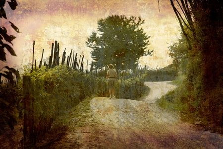 nebbiolo: Artistic work of my own in retro style - Postcard from Italy. - Tourist walking through a vineyard - Piedmont.