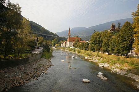 near side: KlausenChiusa near the Brenner pass on the Italian side... here seen from the river Isarco.