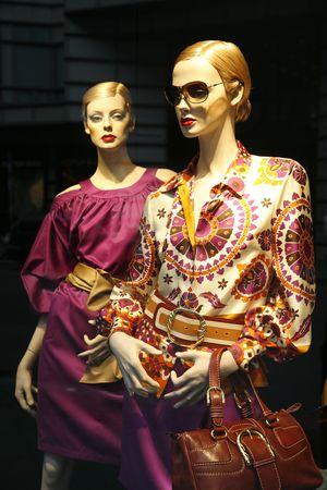 Summer fashion seen through a store window - Berlin.