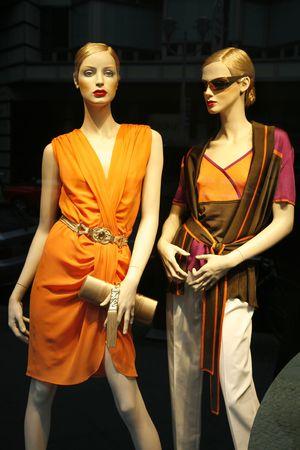 store window: Summer fashion seen through a store window - Berlin.