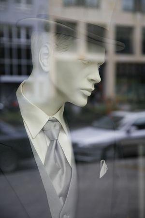 store window: Gentleman fashion seen through a store window - Berlin , Germany
