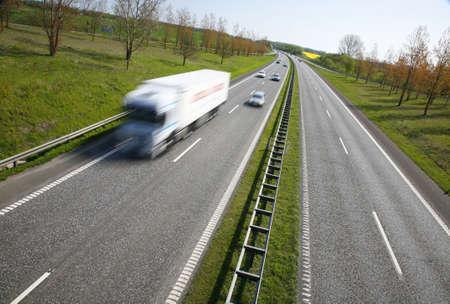Danish motorway - sunday spring morning traffic. photo