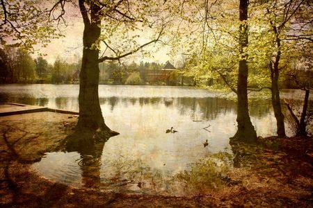 water stained: Artistic work of my own in retro style - Postcard from Denmark. - Morning by the lake.