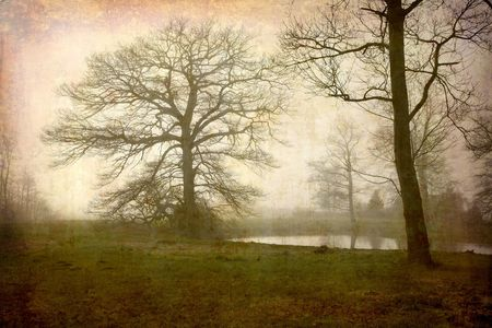 Artistic work of my own in retro style - Postcard from Denmark. - Misty winter morning photo