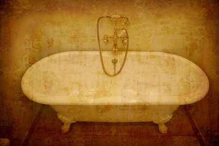 Artistic work of my own in retro style - Postcard from Denmark - Old bathtub with golden faucets and hand shower. Stock Photo