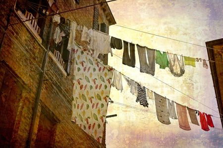 Artistic work of my own in retro style - Postcard from Italy. - Clotheslines - Venice. Stock Photo