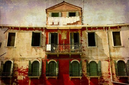 murano: Artistic work of my own in retro style - Postcard from Italy. - Beautiful old facade - the island Murano, Venice.