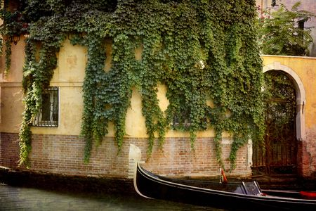 Artistic work of my own in retro style - Postcard from Italy. - Ivy and gondola - Venice. photo