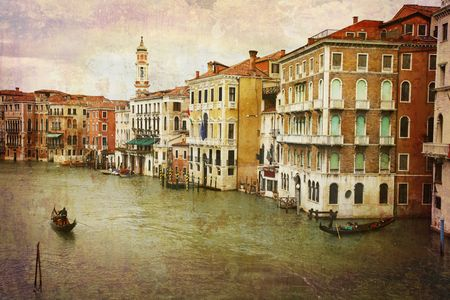Artistic work of my own in retro style - Postcard from Italy. - Gondolas Grand Canal - Venice. photo