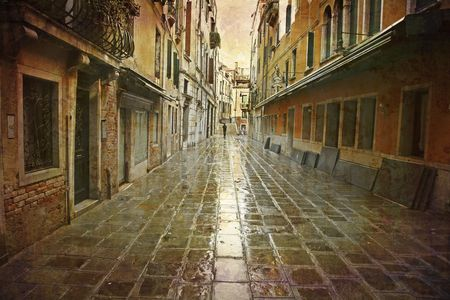 Artistic work of my own in retro style - Postcard from Italy. - Rain in Venice. Stock Photo