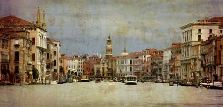 rialto: Artistic work of my own in retro style.. - Grand Canal  direction Rialto Bridge - Venice. Dramatic sky just before a storm.