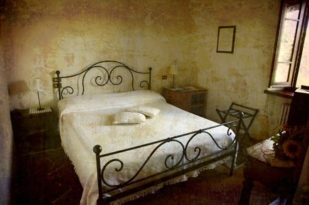 umbria: Artistic work of my own in retro style - Postcard from Italy. - Tiny hotel room Umbria.
