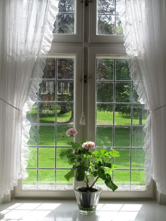 sill: Pink Geranium in retro window sill.