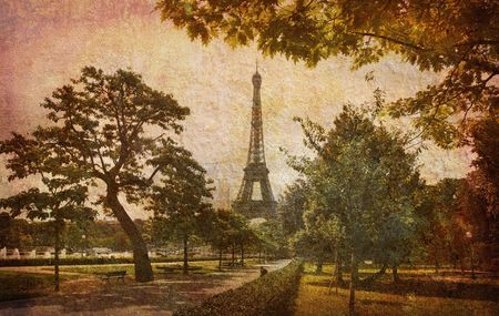 Like an old Japanese print. Several of my photos worked together to make a dreamlike retro look. Dream of the Eiffel tower. Stock Photo