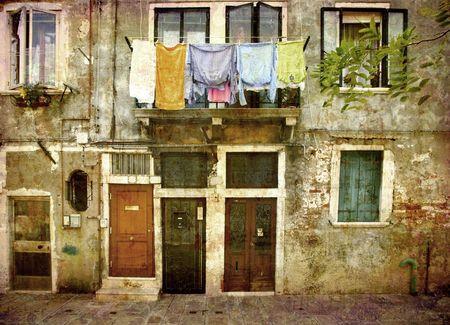 murano: Facade with washing - the island of Murano, Venice, Italy.