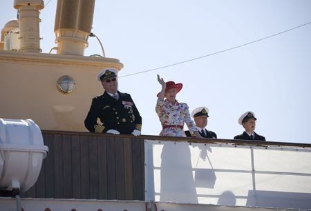 prince of denmark: Nyborg, Denmark June 2: H M Queen Margrethe the 2nd of Denmark and her husband H R H Prince Henrik arriving on board the yach Dannebrog to open an exhibition at Nyborg Castle to celebrate the 350th anniversary of the the battle againt Sweden.