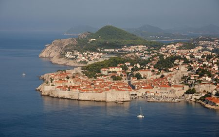 The old Croatian town Dubrovnik by the Adriatic Sea seen from above. Stock Photo - 8196372