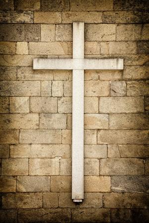 cristian: White cross on a wall Santiago de Compostela, Galicia - Spain.