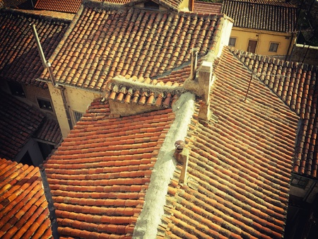 leon: Old tile roofs of Leon, Spain.