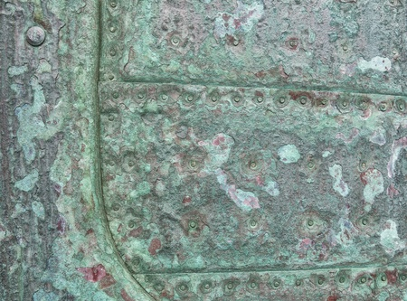verdigris: Detail of the copper covered keel of a 150 years old Danish wooden frigate