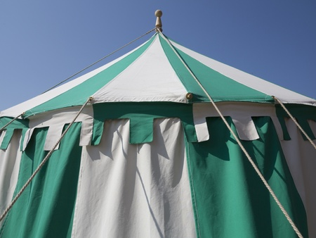 canopy: Detail of medieval tent during the Danehof Market in Nyborg, Denmark. Stock Photo