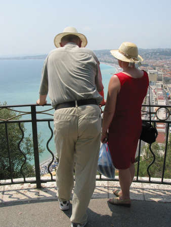 mediterranian: Couple looking at the Mediterranian and the french city Nice.