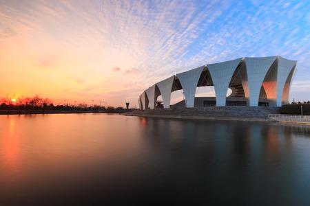 Shanghai Oriental Sports Centre during sunset