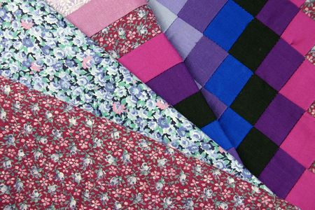 coordinate:  selection of patchwork fabrics for craft or soft-furnishings for interior design
