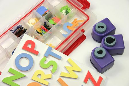 brads: a selection of craft shape cutters and letters