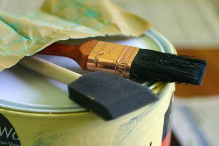 sandpaper: Paint brush, paint can, sandpaper Stock Photo