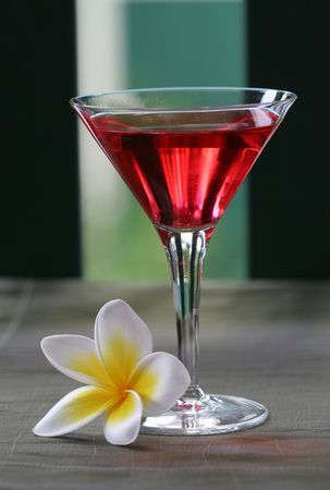 Close up of yellow and white tropical plumeria  frangiapani flower and martini glass with red punch cocktail drink