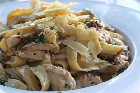 fettuccine: close up of chicken and mushroom fettuccine with parmesan cheese