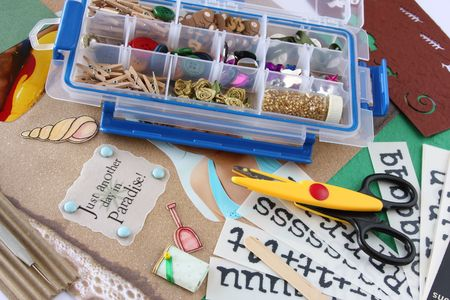 brads: A selection of scrapbooking  craft materials