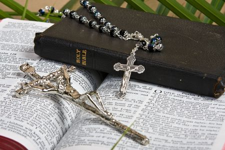 lent: close up of silver rosary and crucifix on bible with palm leaves