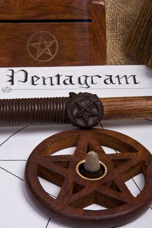 pentagram: wicca pentagram  pentacle - book of shadows and wand