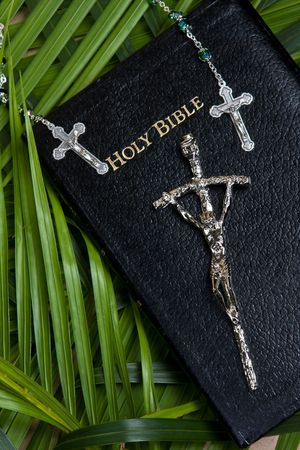 palm sunday: close up of bible with rosary and cross with palm leaf